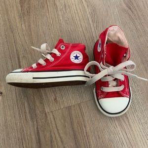 Converse red high tops. Toddler size 6